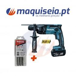 Makita Martelo Ligeiro DHR165RTJ com inserção SDS-PLUS + Kit de brocas.