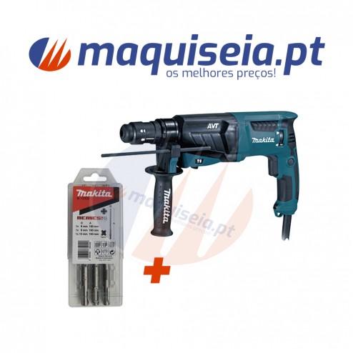Makita Martelo Ligeiro HR2631FT com inserção SDS-PLUS + Kit de brocas.